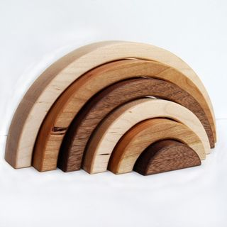 Organic Brainbow Stacking Nesting Arches - natural wooden balancing educational set-1