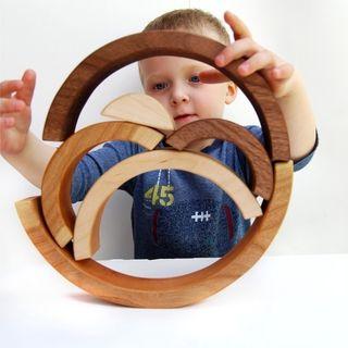 Organic Brainbow Stacking Nesting Arches - natural wooden balancing educational set